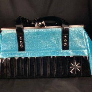 Lux de Ville Bags - Lux de Ville Starlite Kiss Lock Blue & Blk Patent